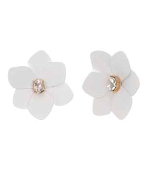 Gold Tone and White Flower Button Clip Earrings
