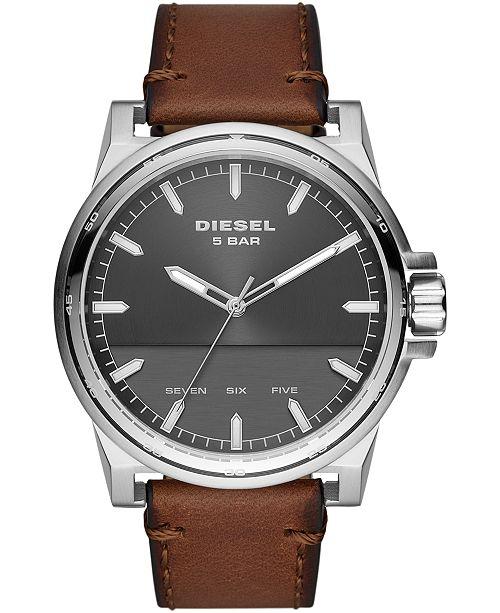 Diesel Men's Tough Guy Brown Leather Strap Watch 48mm