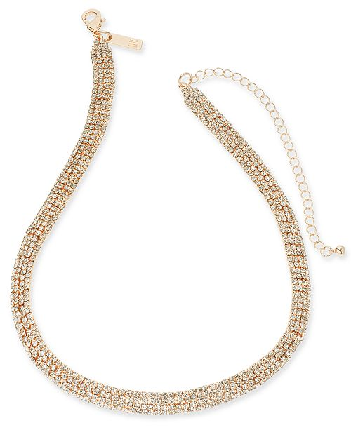 """INC International Concepts INC Rhinestone Mesh Statement Necklace, 15"""" + 4"""" extender, Created For Macy's"""
