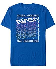 NASA Men's Neon Colors Space Administration Short Sleeve T- shirt
