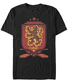 Harry Potter Men's Gryffindor Broomstick Shield Short Sleeve T-Shirt