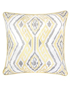 Jessie Ikat Embroidery Square Decorative Throw Pillow
