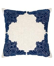Fiona Applique Linen Square Decorative Throw Pillow
