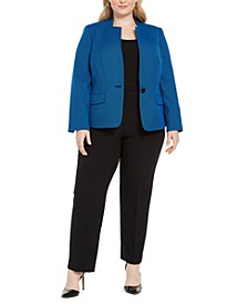 Plus Size One-Button Contrast-Color Pantsuit
