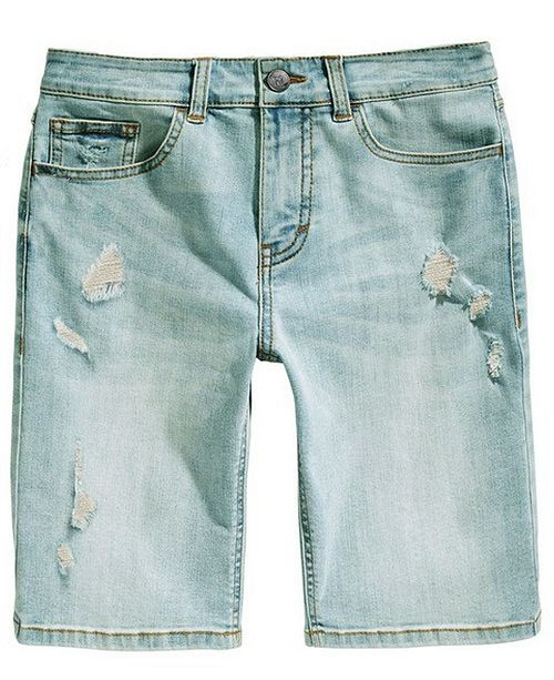 Ring of Fire Big Boys Stretch Destroyed Denim Shorts, Created for Macy's