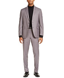 Men's Slim-Fit Techni-Cole Stretch Gray Windowpane Suit, Created for Macy's