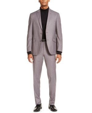 Kenneth Cole Reaction Men's Slim-Fit Techni-Cole Stretch Gray Windowpane Suit, Created for Macy's