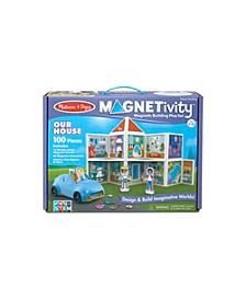 Melissa Doug 100-Piece MAGNETIVITY Magnetic Building Play Set – Our House with Vehicle 16 Panels, 80 Accessory Magnets