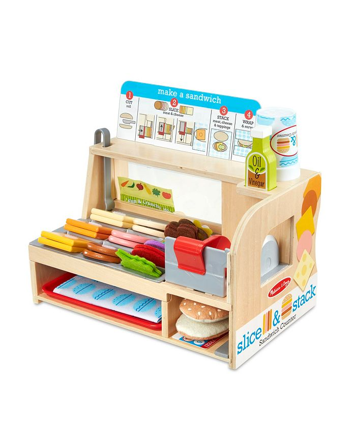 Melissa and Doug - Wooden Slice Stack Sandwich Counter with Deli Slicer – 56-Piece Pretend Play Food Pieces