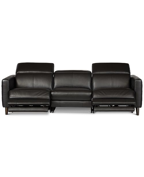 Jaconna 3 Pc. Leather Sofa with 2 Power Recliners, Created for Macy's