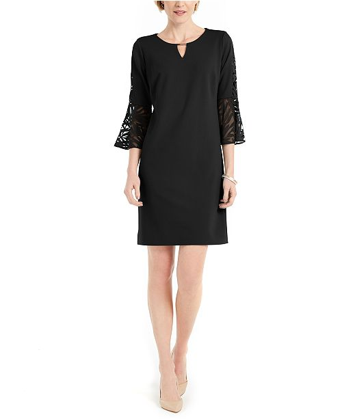 JM Collection Burnout-Bell-Sleeve Keyhole Dress, Created for Macy's