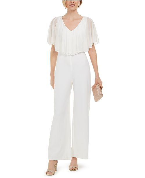 Connected Sparkle-Overlay Jumpsuit