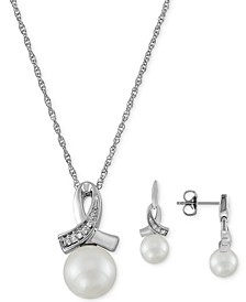 "2-Pc. Set Cultured Freshwater Pearl (7mm & 8mm) & Diamond (1/20 ct. t.w.) 18"" Pendant Necklace & Matching Drop Earrings in Sterling Silver"