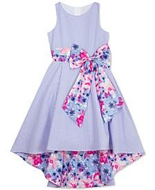 Big Girls Striped Seersucker Floral-Print Dress