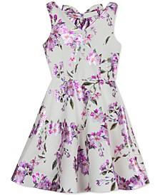 Big Girls Foil Floral-Print Fit & Flare Scuba Dress