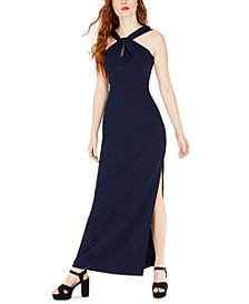 Juniors' Halter-Neck Gown
