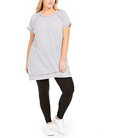 Plus Size Striped Crossover-Hem Tunic, Created For Macy's