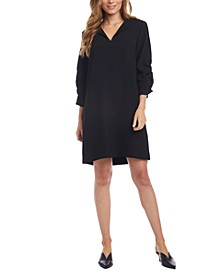 Ruched-Sleeve Shift Dress