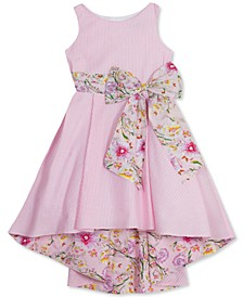 Little Girls Seersucker Floral-Bow Dress