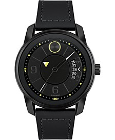 Men's Swiss Bold Black Leather Strap Watch 42mm, Created for Macy's