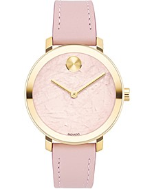 Women's Swiss Bold Pink Leather Strap Watch 34mm