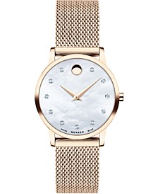 Women's Swiss Museum Classic Diamond (1/20 ct. t.w.) Rose Gold PVD Stainless Steel Mesh Bracelet Watch 28mm