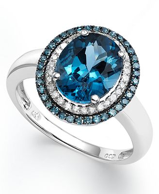 London Blue Topaz 2 3 4 Ct T W Blue And White Diamond