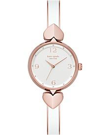 Women's Hollis Rose Gold-Tone Stainless Steel & White Enamel Bangle Bracelet Watch 30mm