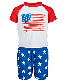 Baby Boys 2-Pc. Red, White & Blue Rash Guard Set, Created for Macy's