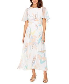 Printed Chiffon Cape Maxi Dress
