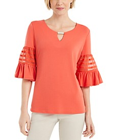 Keyhole Bell-Sleeve Top, Created for Macy's