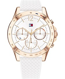Women's Chronograph White Silicone Strap Watch 38mm, Created for Macy's