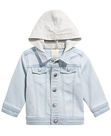 Baby Boys Light Wash Mixed Media Hooded Denim Jacket, Created for Macy's
