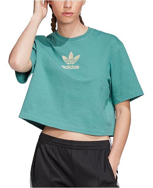 adidas Women's Cotton Gold-Logo T-Shirt