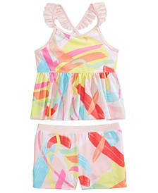 Toddler Girls 2-Pc. Color Splash Tankini Swimsuit Set, Created for Macy's