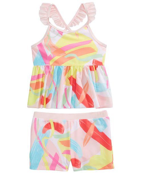 Ideology Little Girls 2-Pc. Color Splash Tankini Swimsuit Set