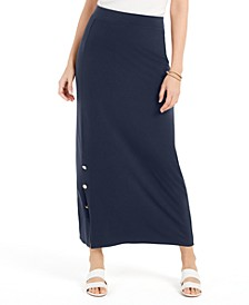 Petite Buttoned-Slit Skirt, Created for Macy's