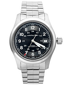 Hamilton Watch, Men's Swiss Automatic Khaki Field Stainless Steel Bracelet 38mm H70455133
