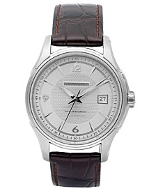 Men's Swiss Automatic Jazzmaster Viewmatic Brown Leather Strap Watch 40mm H32515555