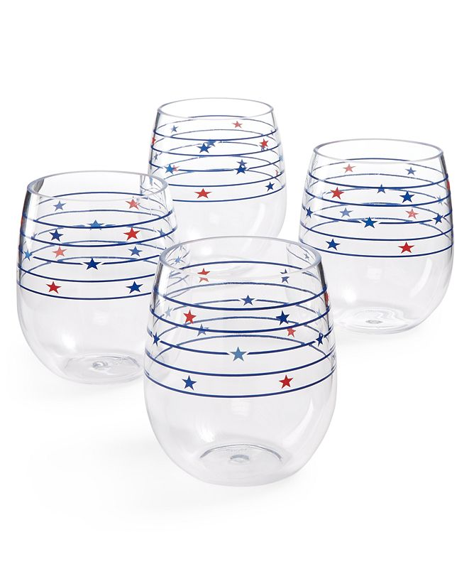 Martha Stewart Collection Americana Acrylic Stemless Wine Glasses, Set of 4, Created for Macy's
