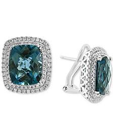 EFFY® London Blue Topaz (15-5/8 ct. t.w.) & Diamond (7/8 ct. t.w.) Statement Earrings in 14k White Gold