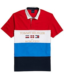 Men's Custom-Fit Mickey Logo Graphic Rugby Polo Shirt with Magnetic Buttons, Created for Macy's