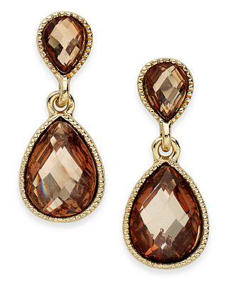 INC International Concepts Earrings, Gold-Tone Brown Stone Double Teardrop Earrings