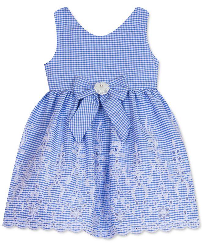 Rare Editions Baby Girls Scalloped-Hem Gingham-Print Dress