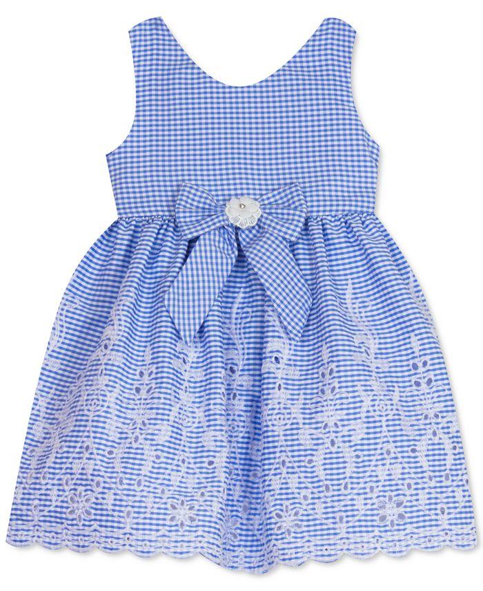 Rare Editions - Baby Girls Scalloped-Hem Gingham-Print Dress