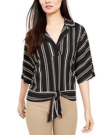Petite Striped Tie-Front Top, Created For Macy's