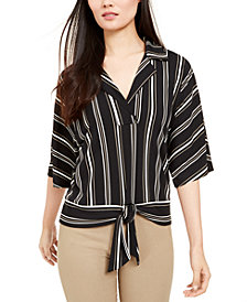Alfani Striped Kimono Tie-Front Top, Created for Macy's