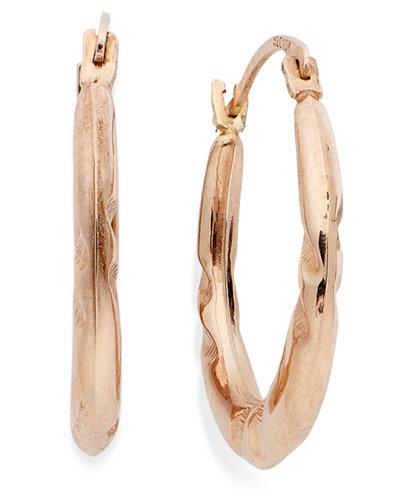 10k Rose Gold Earrings, Pinched Hoop Earrings