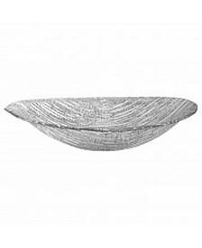 "Secret Treasure Silver Mouth Blown Glass 15"" X 9"" Oval Bowl"