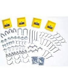 DuraHook 83 Piece Hook Bin Assortment for Duraboard or Pegboard 79 Asst Hooks 4 Bins